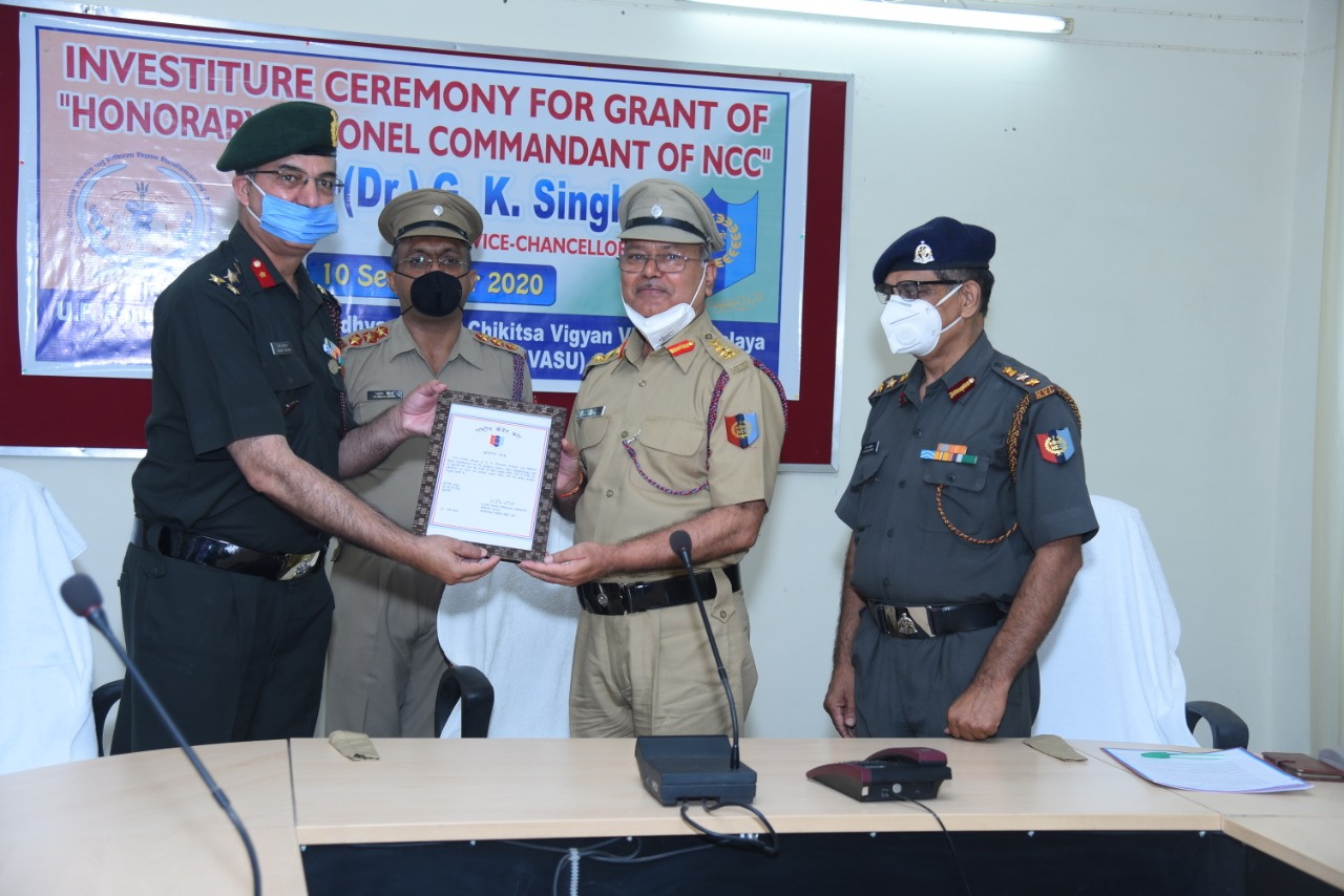 "Investiture Ceremony for Grant of ""Honorary Colonel Commandant"" of NCC Prof. (Dr.) G.K. Singh, Vice Chancellor, DUVASU, Mathura"